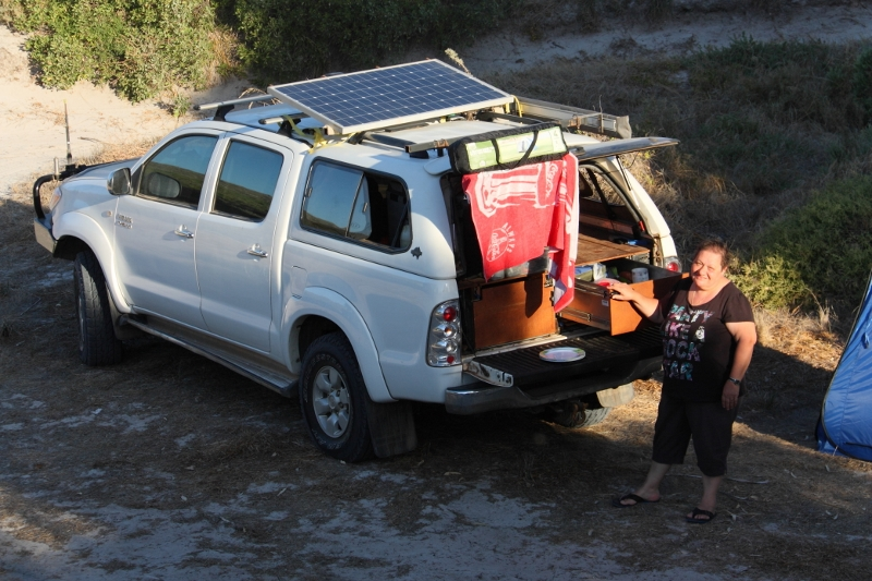mum and hilux at camp