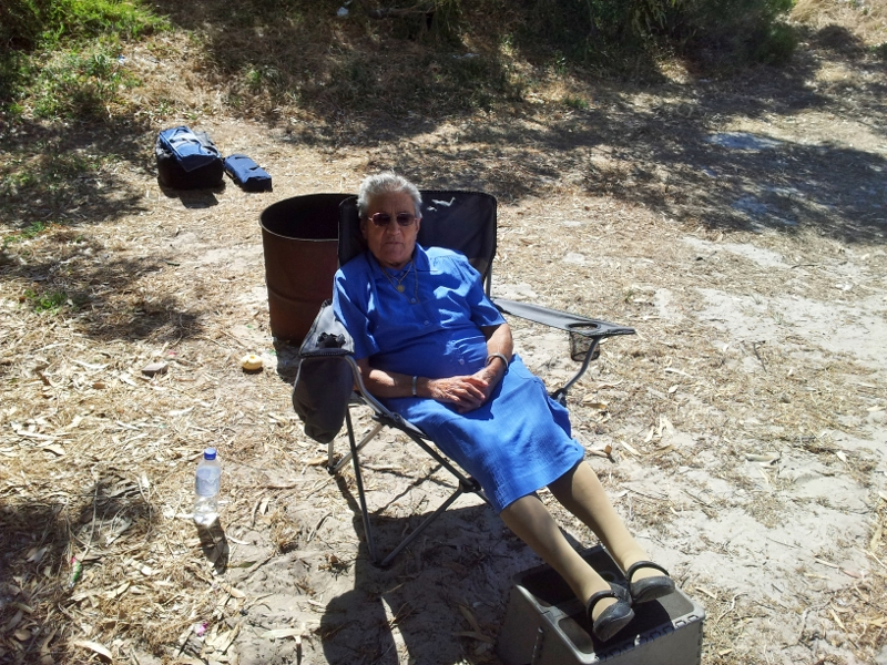 nonna catching some rays