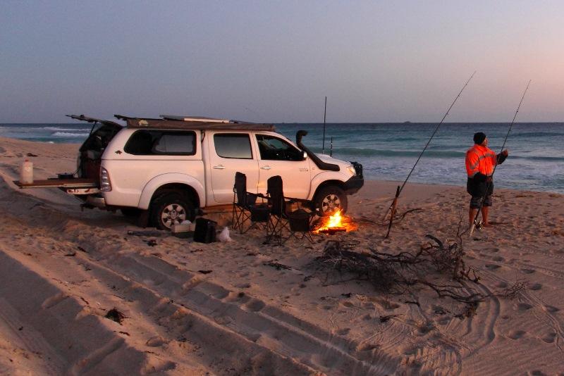 setting up for night fishing