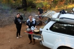 sharni making a camp oven roast chicken, wrights bridge