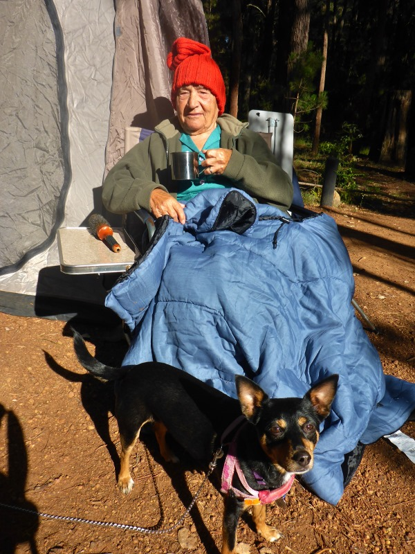 nonna camping with coffee