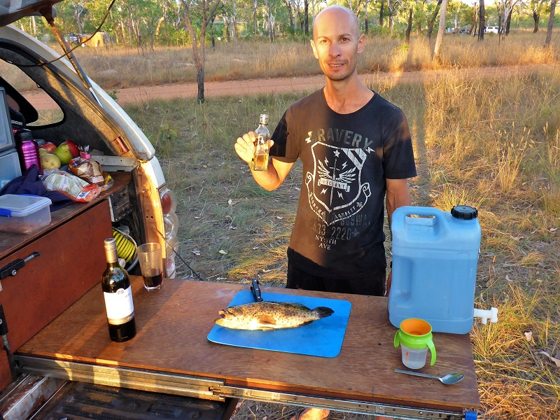 preparing dinner at king edward river