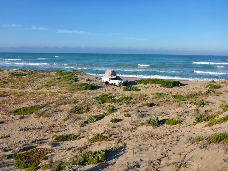 camped at coorong ocean beach
