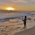 sunset beach fishing